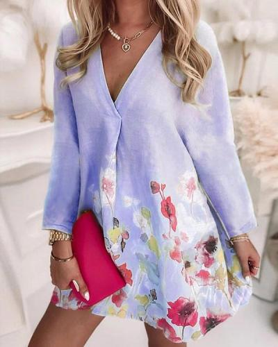 V-neck Loose Printed Linen Long-sleeved Dress