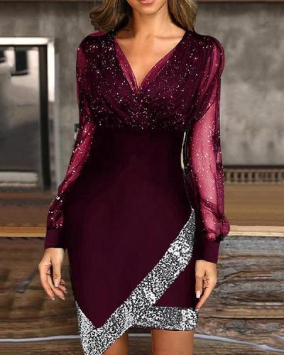 V-neck Mesh Stitching Dress