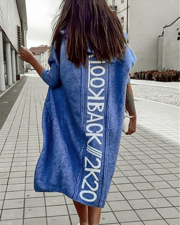 Comfy Warm Outerwear Solid Color Letter Print Pocket Hooded Casual Cardigan