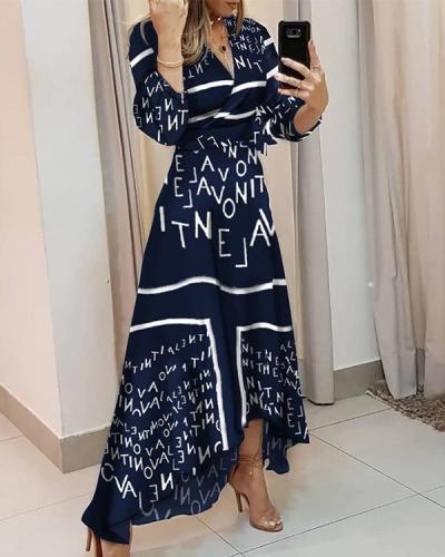 V-neck trend print irregular dress