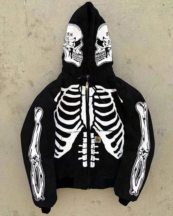 Skeleton Print Fashion Long-sleeved Hooded Coat Zip Up Sweatshirt