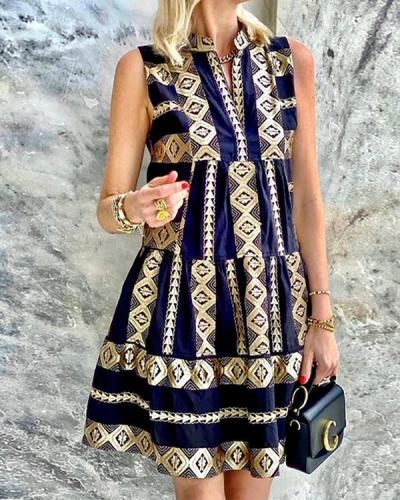Printed Sleeveless Retro Dress