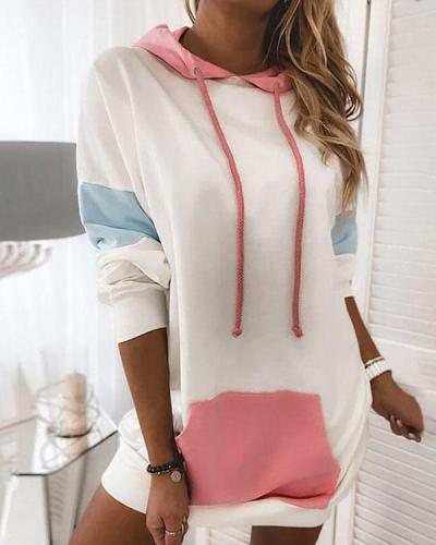 Women Color Block Contrast Long Hoodies with Pocket