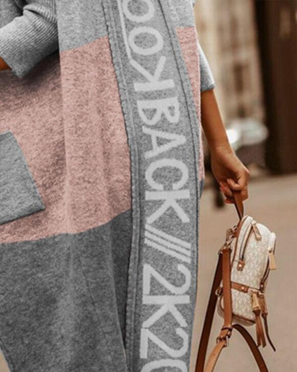 Comfy Warm Outerwear Color Block Letter Print Pocket Hooded Casual Cardigan