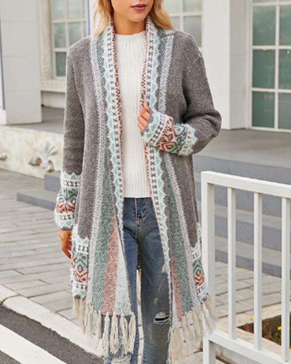 Casual Tassel Midi Bohemian Knitted Cardigan