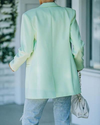 Candy Color Lapel Solid Classy Office Suit Women Pocket Blazer