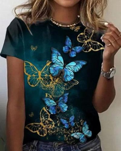 NEW! Butterfly Print Round Neck Short Sleeves T-shirts