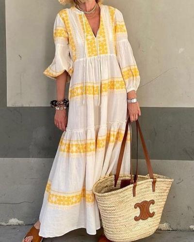 Printed V-neck Long-sleeved Dress