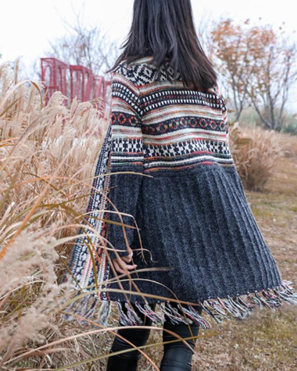 Tassel Midi Bohemian Knitted Cardigan
