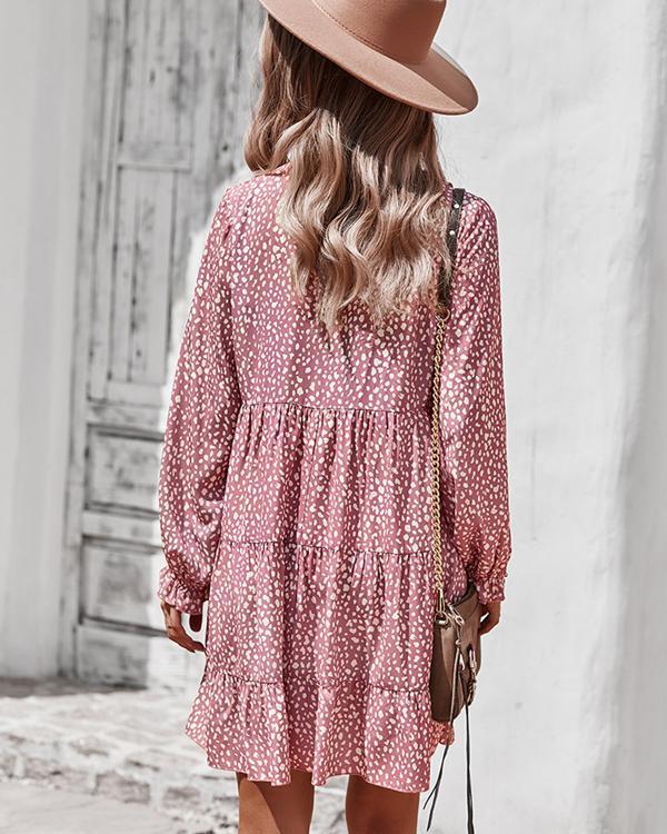 Fashion Chiffon Leopard Print Long Sleeve Mini Dress
