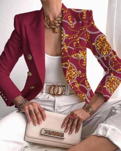 Single Side Chain Print Stitching Suit Classy Blazer