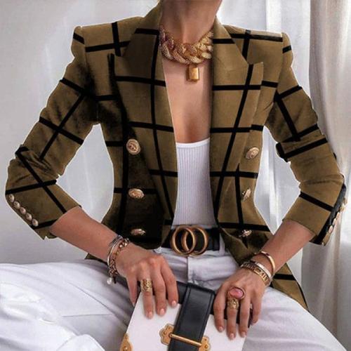 Vintage Plaid Metal Button Suit Classy Blazer