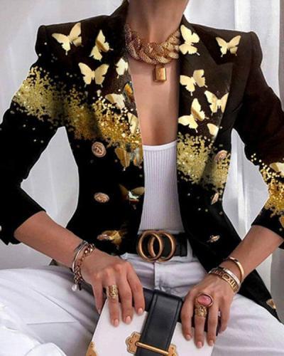 Fashion Butterfly Print Lapel Suit Classy Blazer