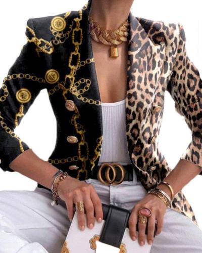 Fashion All-match Leopard Chain Printed Blazer Lapel Suit