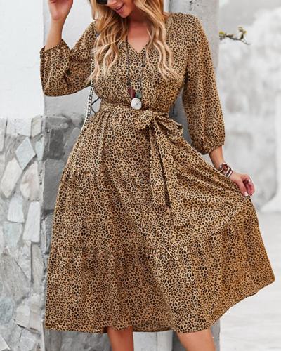Chiffon Print Long Sleeve Midi Dress