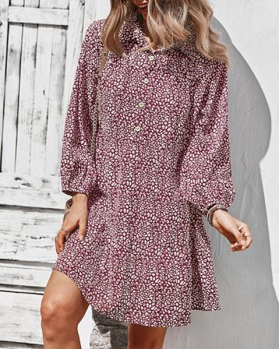 Chiffon Leopard Print Long Sleeve Mini Dress