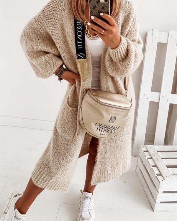 V-Neckline Solid Casual Loose Long Sweater Coats Pockets Sweaters