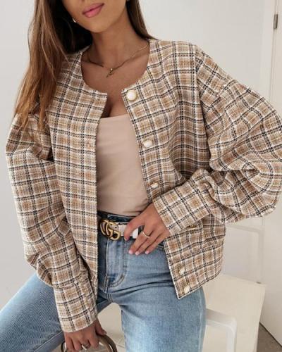 Long Sleeve Plaid Print Short Jacket