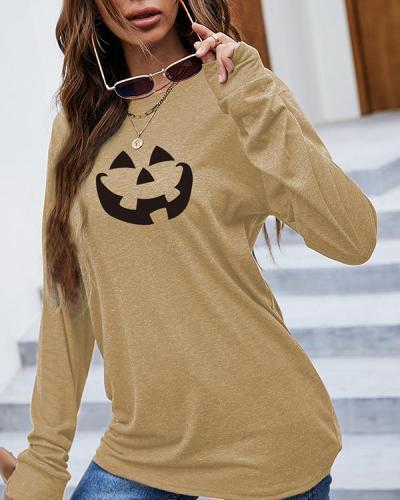 Halloween Print Pattern Women Long Sleeve T-Shirt
