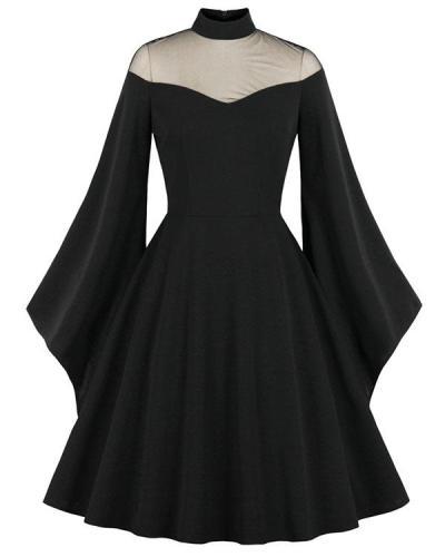 Halloween Black Queen Cosplay Dress Yarn Stitching Flare Sleeve Retro Maxi Dress