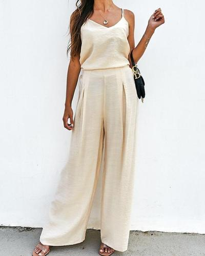 Pure Color Casual Loose Sling Women's Suit