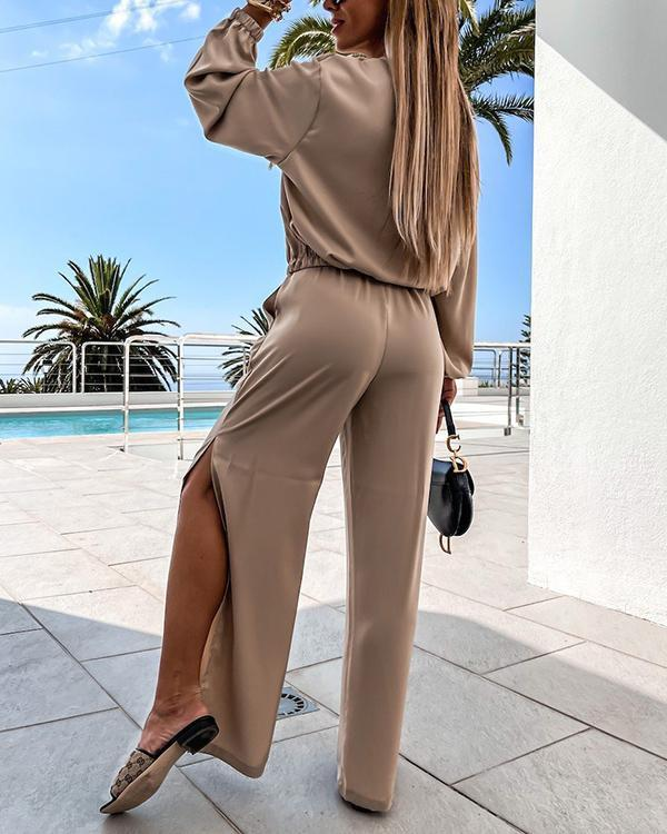 V-neck Long-sleeved Casual Suit