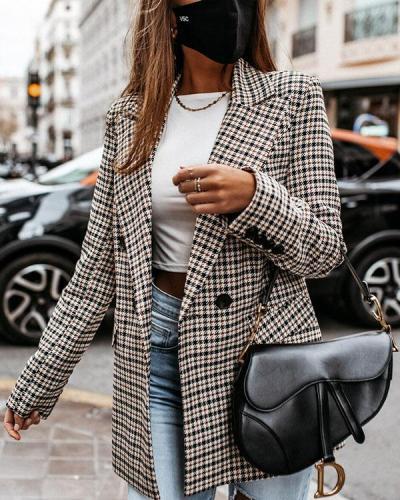 Fashion Lapel Plaid Suit Double Breasted Autumn Winter Coat