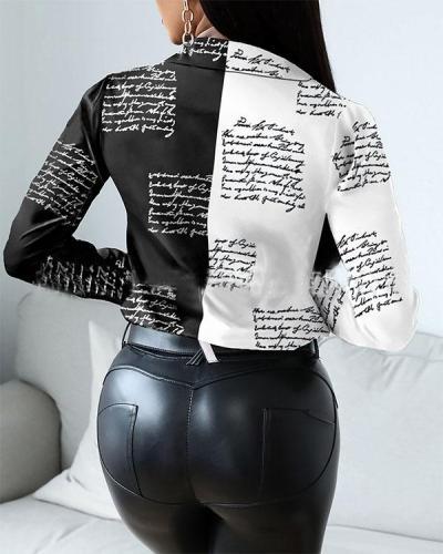 Women's Turndown Collar Newspaper Print Long Sleeve Blouse Top