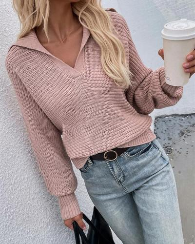 Casual Lantern-sleeve Knitting V Neck Solid Sweater