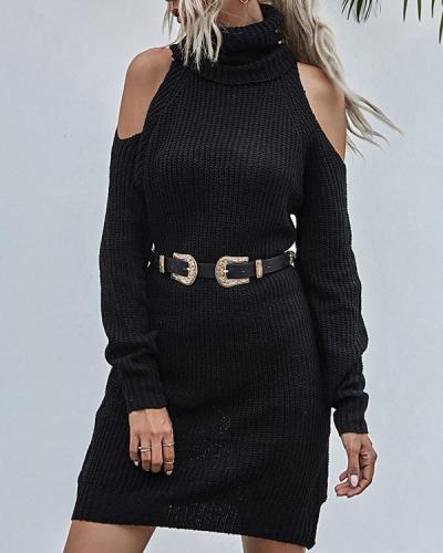 Turtleneck Pullover Sweater Dress