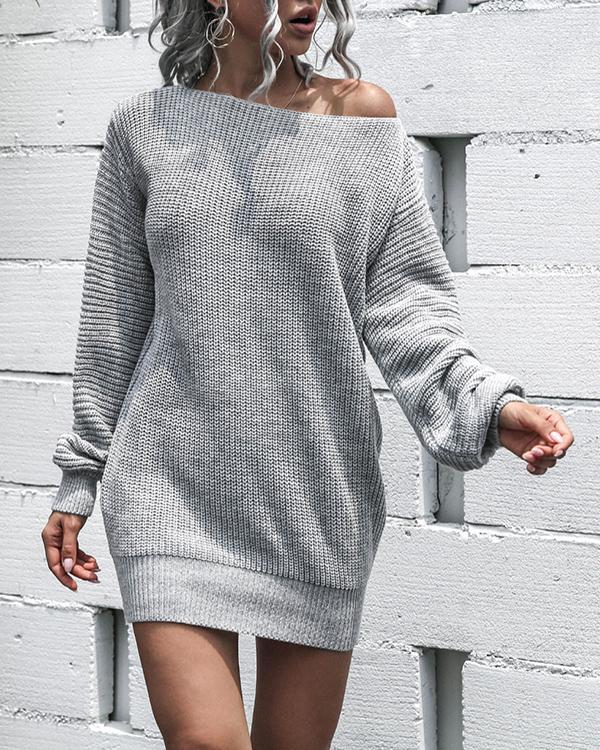 Casual Off-the-shoulder Lantern Sleeve Knitted Sweater Dress