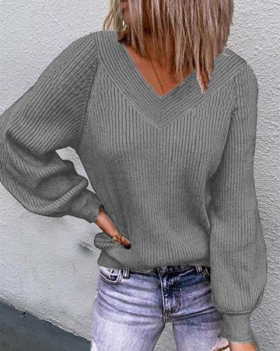 Casual Lantern-sleeve V Neck Rib Knitting Sweater