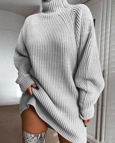 Mid-length Raglan Sleeve Half Turtleneck Sweater Dress