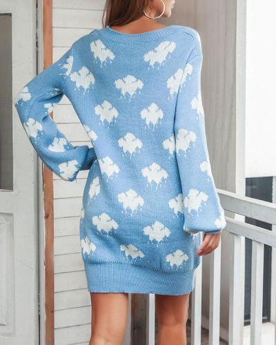 New Knitted Lantern Sleeve Dress