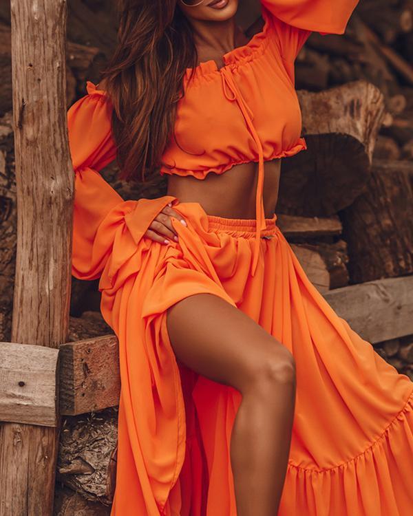 Sexy Off Shoulder Ruffle Blouse & Slit Long Dress