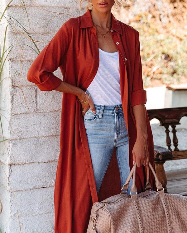 Soft Comfy Multiwear Slit Long Cardigan Shirt Dress