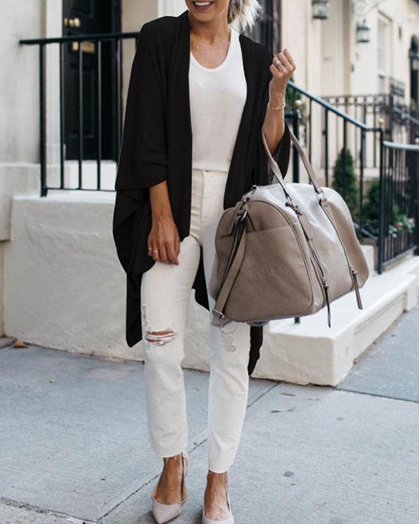 Women Early Fall Fashion Irregular Batwing Sleeve Knit Cardigan