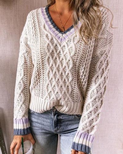 Women V Neck Vintage 70s Crochet Knit Sweater