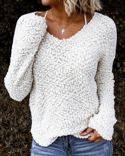 Women Solid V Neck Fleece Sweatshirt Casual Long Sleeve Top