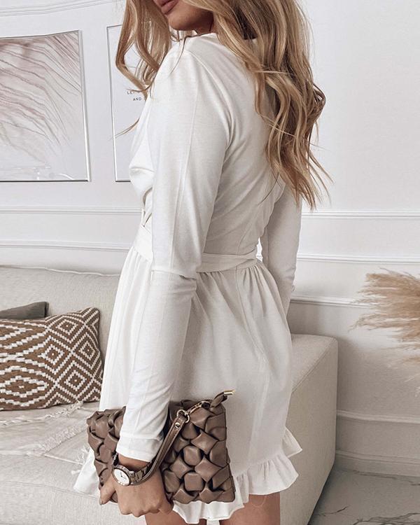 Ruffles V Neck Long Sleeve Wrap Mini DRESS