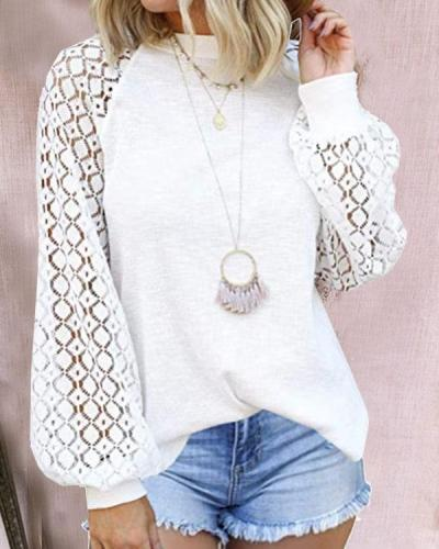 Women Round Neck Lace Stitching Long Sleeve Daily Tops