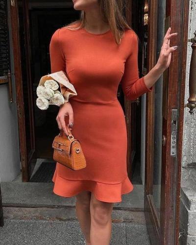Round Neck Ruffled Slim Fit Mini Dress