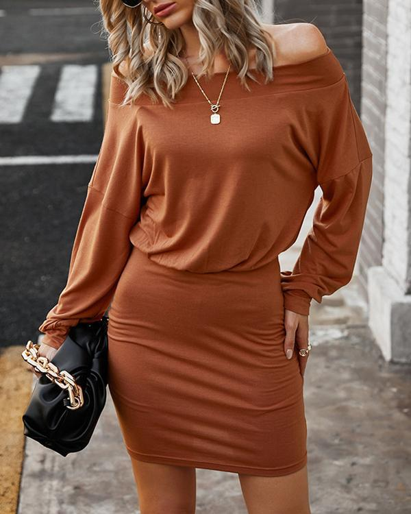 Solid Off Shoulder Long Sleeve Bodycon Mini Dress