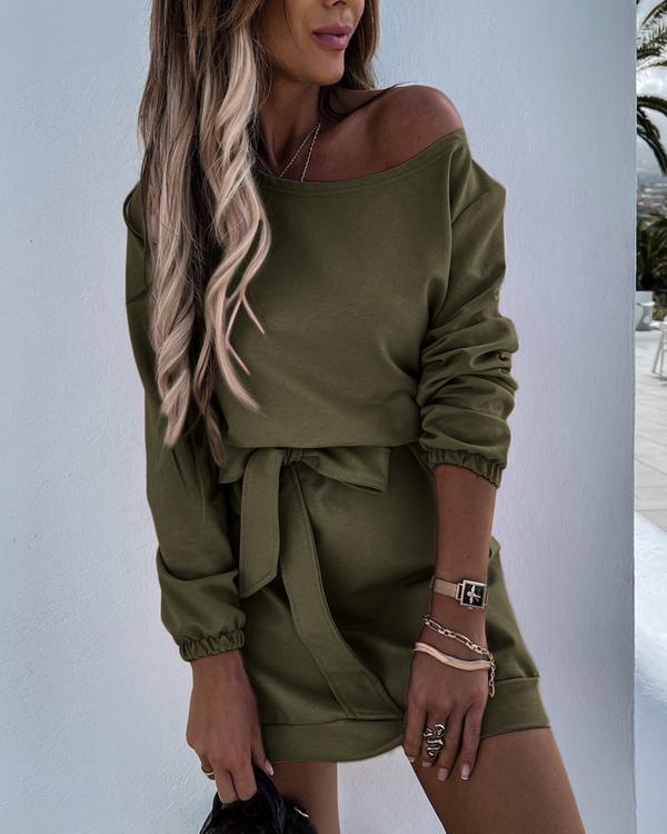 Dew Shoulder Belted Long Sleeve Mini Dress