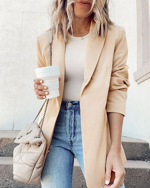 Women's Blazers Solid OL Slim Fit Chic Suit Long Jacket