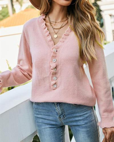 Pullover Button Wood Eear Sweater