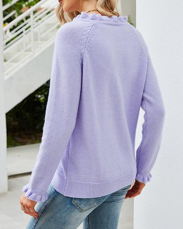 Pullover Button Round Neck Sweater