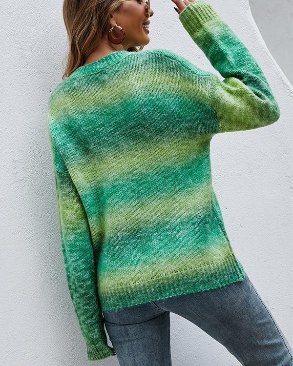 Women's Rainbow Pullover Knitted Sweater