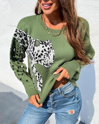 Big Leopard Head Print Pullover Sweater