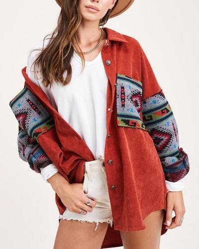 Corduroy Stitching Printed Long-sleeved Jacket
